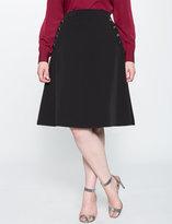 ELOQUII Plus Size Button A-line Skirt