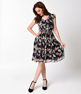 Lindy Bop 1940s Style Black Geisha Fan Print Francy Tea Dress