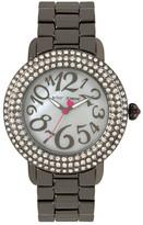 Betsey Johnson Women&s Bedazzled Crystal Bracelet Watch