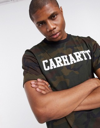 Carhartt WIP short sleeve college t-shirt in camo evergreen