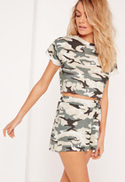 Missguided Petite Exclusive Camo Roll Sleeve Crop Top Khaki