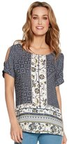 M&Co Tile print cold shoulder top