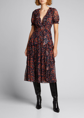 Ulla Johnson Delphine Floral-Print Midi Dress