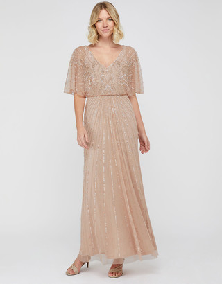 Monsoon Tabitha Embellished Maxi Dress Pink