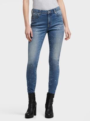 DKNY Women's Paint Splatter Skinny Jean - Indigo - Size 24