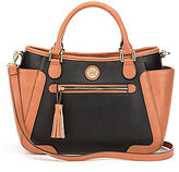 Kate Landry Tasseled Colorblocked Satchel
