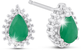 Ice 1 CT TW Pear-Cut Emerald Sterling Silver Stud Earrings with Diamond Accents