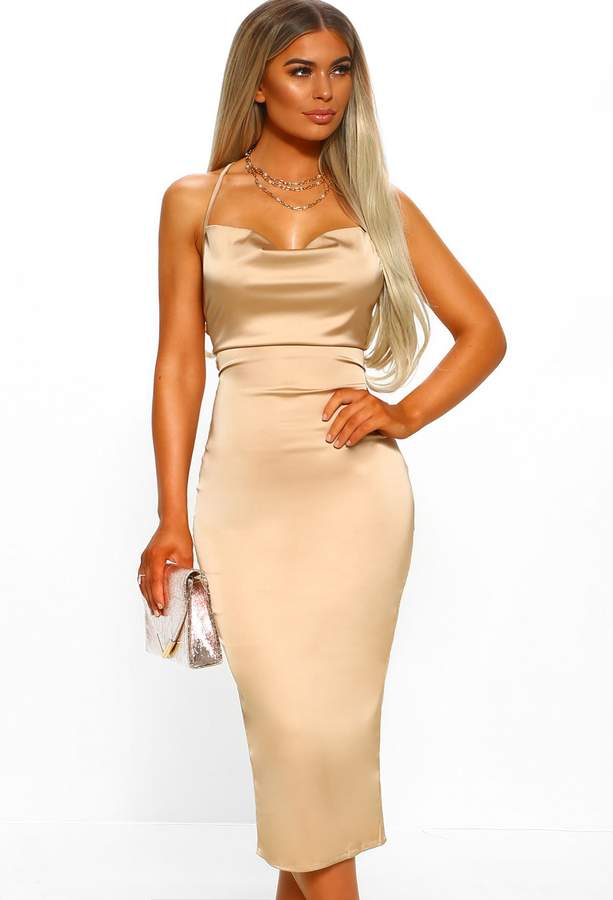Pink Boutique Milan Moments Champagne Stretch Satin Strappy Midi Dress
