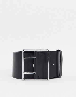 AllSaints leather 75mm eyelet belt in black