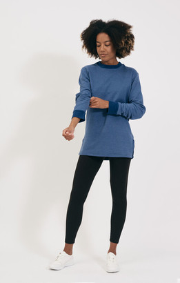 Shio Blue Marl Long Pullover - S/M | cotton | Blue Marl