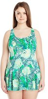 Maxine Of Hollywood Women's Plus-Size Tropical Breeze Princess Seam Swim Dress
