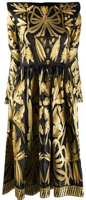Yuliya Magdych Leaf Embroidered Silk Dress