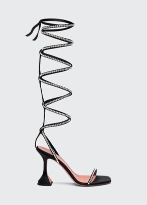 Amina Muaddi x AWGE LSD 95mm Gladiator Embellished Wraparound Sandals, Black