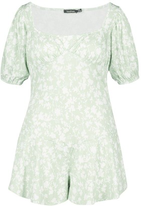 boohoo Plus Recycled Floral Puff Sleeve romper