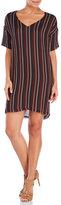 Alysi V-Neck Stripe Silk Shift Dress