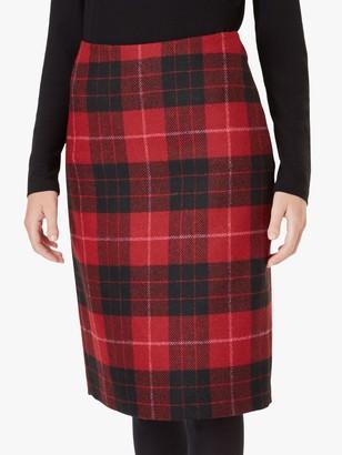 Hobbs Daphne Wool Skirt, Red/Black