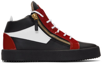 Giuseppe Zanotti Red and Black Kriss High-Top Sneakers