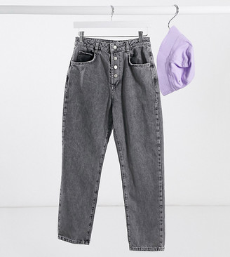 Reclaimed Vintage inspired mom jean with button front in grey wash