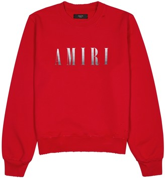 Amiri Red logo cotton-jersey sweatshirt