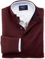 Charles Tyrwhitt Wine Merino Wool Button Neck Jumper Size XS