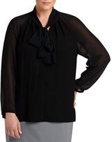 Lafayette 148 New York Louise Georgette-Sleeve Blouse, Plus Size