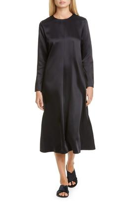Co Long Sleeve Satin Midi Dress