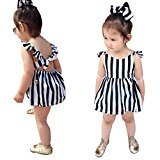 Fheaven Baby Girls Clothes Striped Straps Dress Blackless Mini Dress (24M, Black)