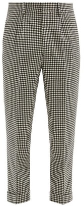 Ami Gingham-check Tapered Wool-blend Trousers - Black Cream