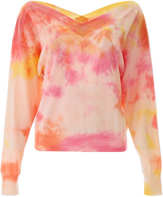 MSGM TIE-DYE SWEATER S Pink, Beige, Yellow Cotton