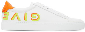 Givenchy White and Orange Reverse Logo Urban Knots Sneakers