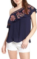 Sun & Shadow Women's Embroidered One-Shoulder Top