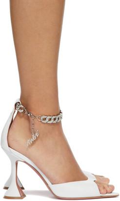 Amina Muaddi White AWGE Edition Flacko Heeled Sandals