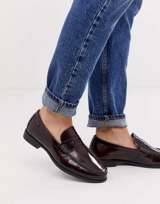 Ben Sherman wide fit leather penny loafer in bordo-Red