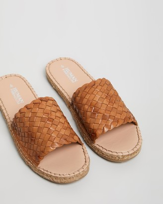 Human Premium - Women's Brown Flat Sandals - Chrissy Woven Leather Espadrille Slides - Size 38 at The Iconic