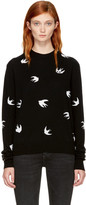 McQ by Alexander McQueen Black Swallows Crewneck Sweater