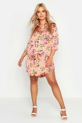boohoo Plus Floral Printed Shirt Dress