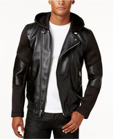 GUESS Men's Faux-Leather Stretch-Contrast Moto Jacket