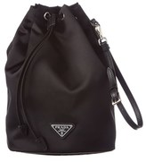 Prada Nylon & Saffiano Leather Drawstring Pouch.