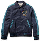 Valentino Leather-appliquéd Shell Varsity Jacket
