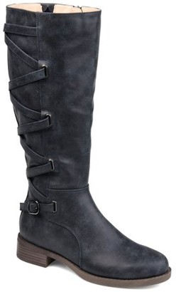 Brinley Co. Womens Lace-up Detail Riding Boot
