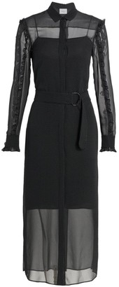 Akris Punto Mini Dot Ruffle Detail Silk Midi Dress