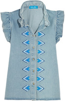 MiH Jeans Hillsea Ruffled Embroidered Denim Top - Light denim