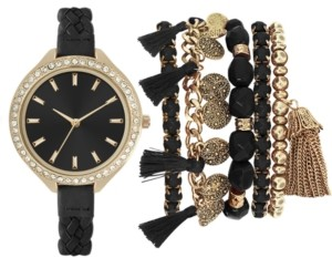 Jessica Carlyle Women's Black Braided Faux Leather Strap Watch 40mm Gift Set
