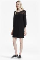 French Connection Vhari Hybrid Knit Chiffon Yoke Jumper Dress