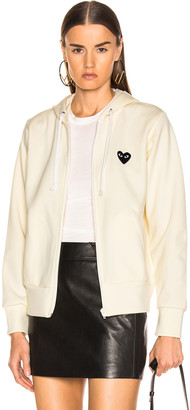 Comme des Garcons Big Heart Full Zip Hoodie in Ivory | FWRD