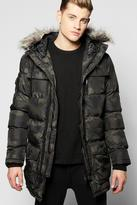 Boohoo Faux Fur Hooded Camo Quilted Parka