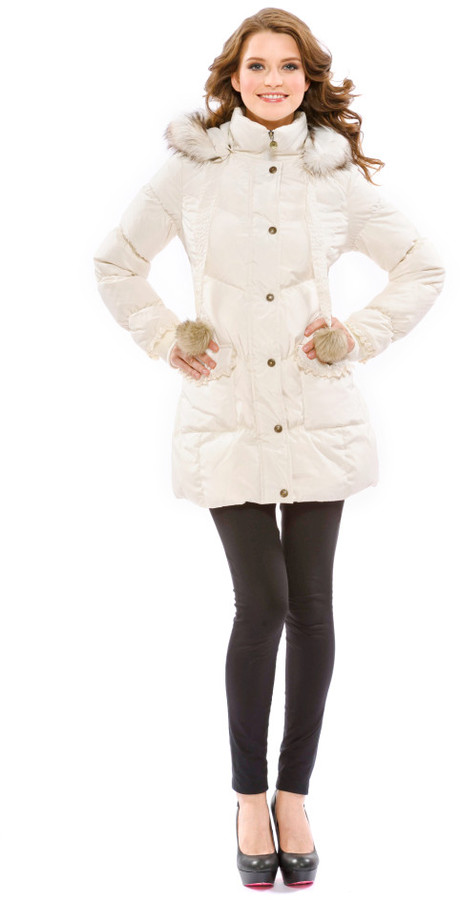 Betsey Johnson Angel Down Eyelet Ruffle Coat