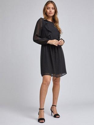 Dorothy Perkins Petite Ruffle Dobby Fit & Flare Mini Dress - Black