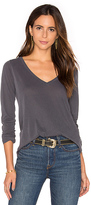 Splendid Vintage Whisper Long Sleeve V Neck Tee in Gray