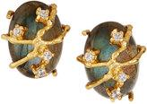 Indulgems Golden Vine Labradorite & Crystal Button Earrings